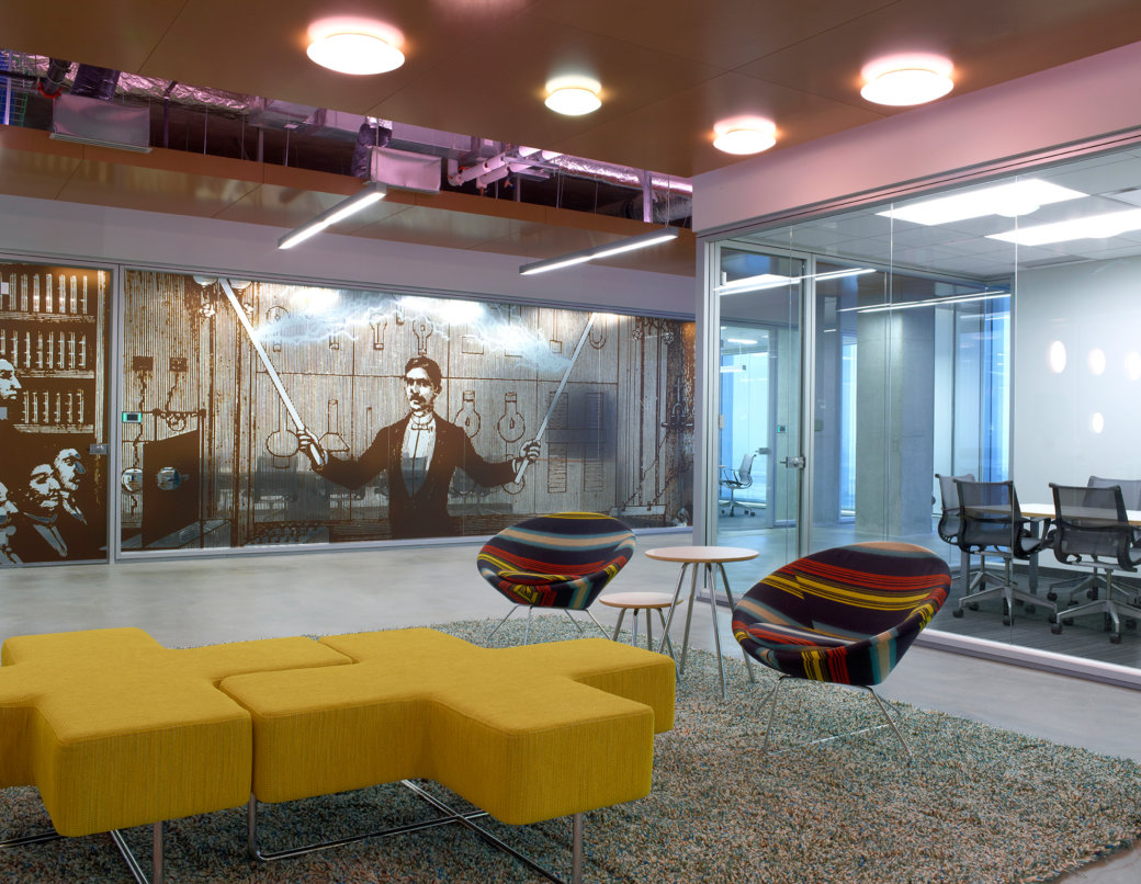 Colorful unique lobby furniture and seating in Utah office