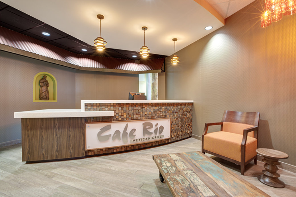 Unique lobby furniture in Utah office