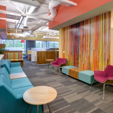 Colorful mid-century modern lounge seating in Utah office