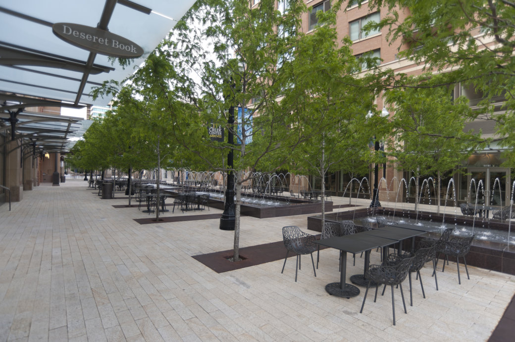 Outdoor furniture at City Creek Mall in Salt Lake City