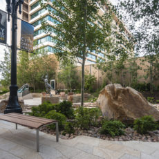 Outdoor furniture and outdoor bench at City Creek Mall in Salt Lake City Utah