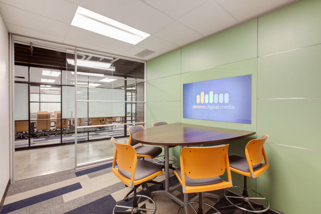 Small conference room with media wall in Utah tech company office