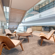 Mid-Century modern lounge seating and lobby decor for Nuskin Utah office space