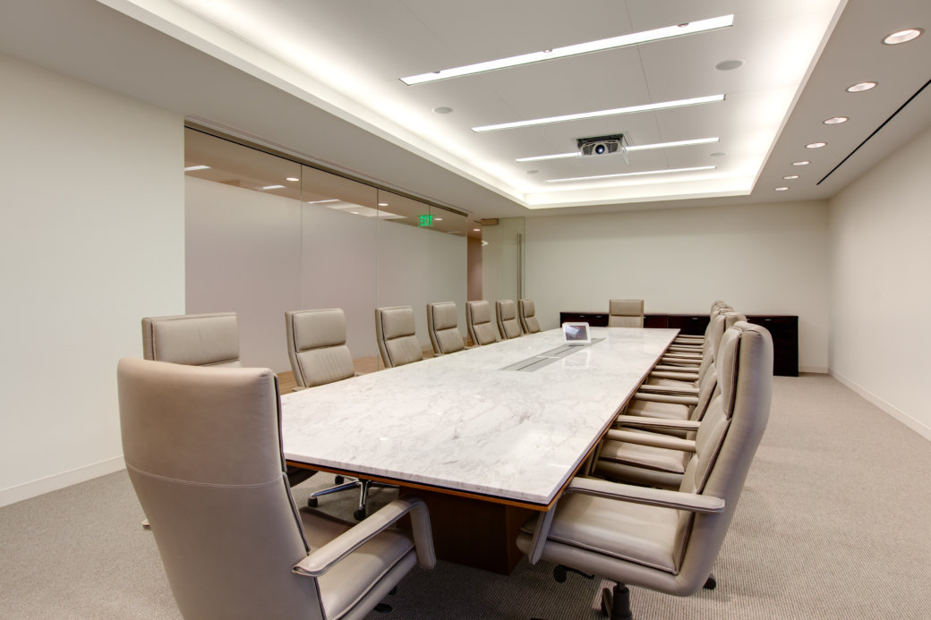 Marble conference room table with modern chairs in Las Vegas office