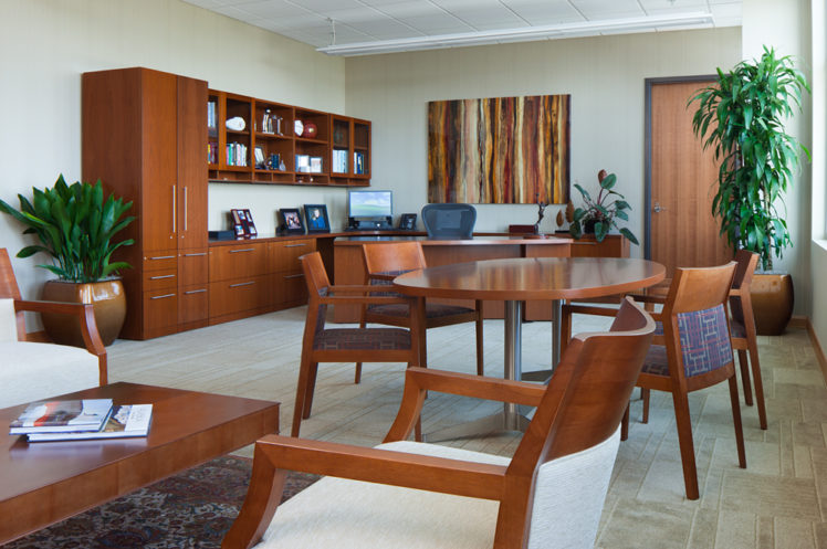 Wood private office furniture in Salt Lake City office