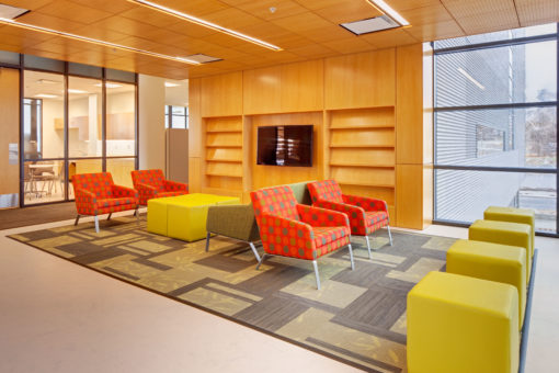 Colorful higher education lobby furniture at Utah State University
