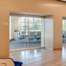 Glass and wood modern conference room in Utah office