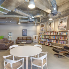 Modern lobby lounge seating in Zappos Las Vegas office