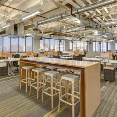 Modern office space with workstations at Zappos Las Vegas